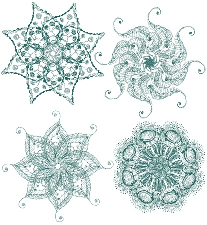 Vector hand drawn vintage set of snowflakes  Vector