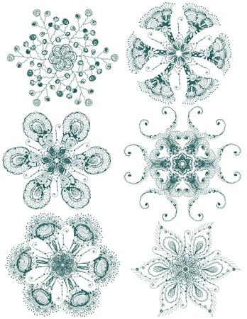 ベクターの手描き雪片のビンテージ セット  イラスト・ベクター素材
