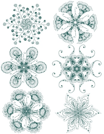 Vector hand drawn vintage set of snowflakes
