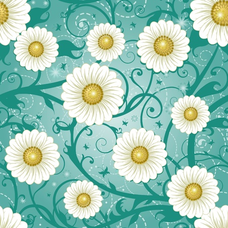 Seamless daisy background Vector