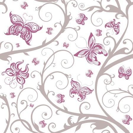 ロマンチックな花蝶のシームレスなパターン