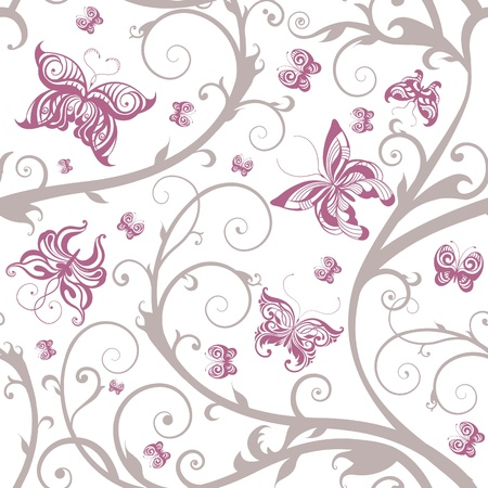 purple pattern: Romantic floral butterfly seamless pattern