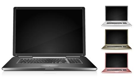 Detailed laptop in 4 color variations 版權商用圖片 - 11655690