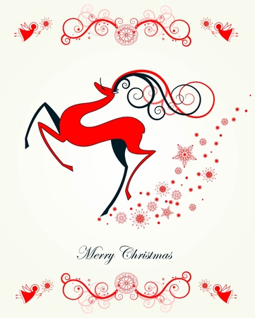 freigestellt: Christmas card with reindeer and snowflakes Illustration