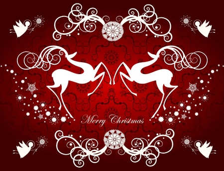 Christmas card with reindeers and snowflakes
