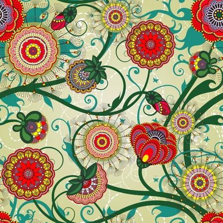 아름다운 꽃 빈티지 벽지 스톡 콘텐츠 - 11655711