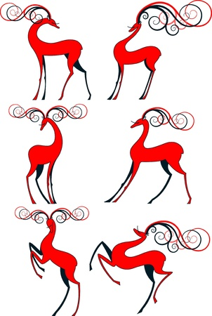 Set of beautiful abstract deer