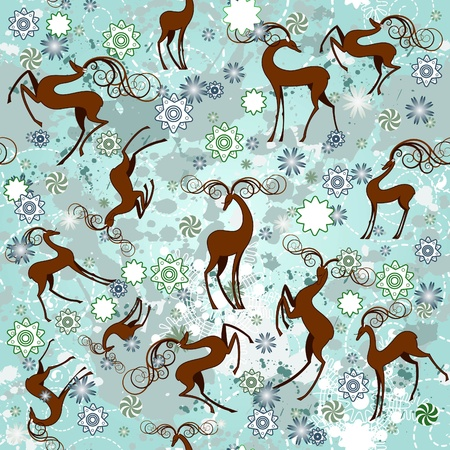 Winter deer seamless background Vector
