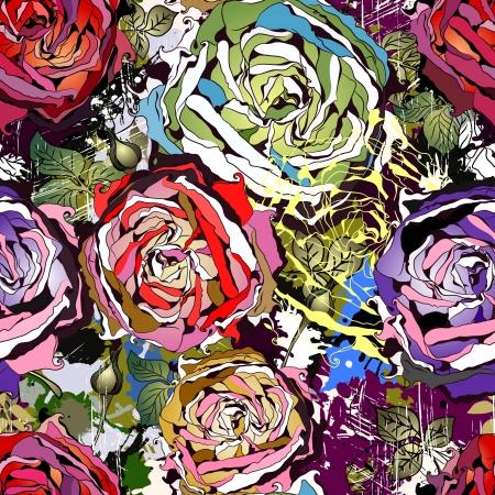 抽象的な色のバラの美しいシームレスな背景
