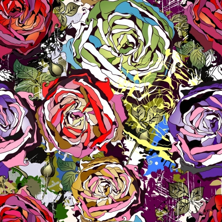 Beautiful seamless background with abstract colored roses