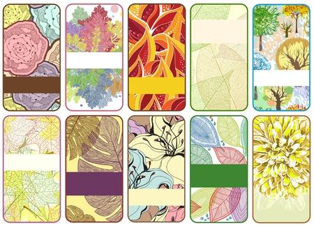 10 のカラフルな秋のカードのセット