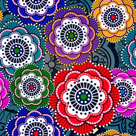 Seamless pattern with abstract flowers. Vector, EPS 10 Vettoriali