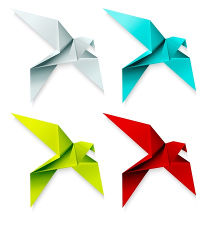 Set of colorful origami bird. Vector EPS 10 Vector