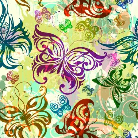 蝶のシームレスなパターン。ベクトル イラスト、EPS 10  イラスト・ベクター素材