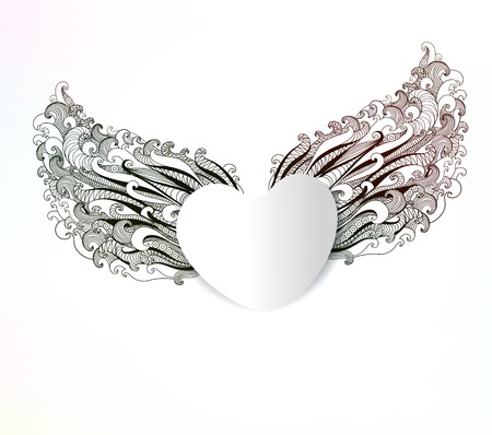 Abstract heart with wings. Valentines day background. Vector