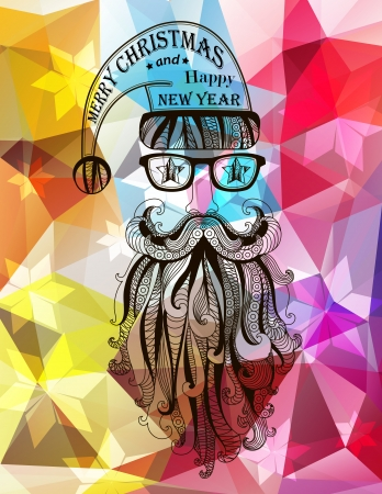 Hipster Santa Claus. Merry Christmas background. Vector