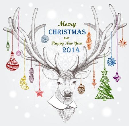 Christmas deer. Holiday background. Vector, EPS 10 Vettoriali