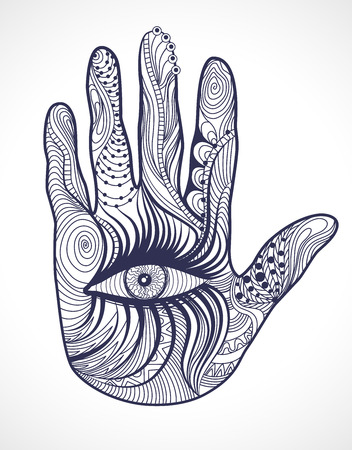 hand with the eye. Design Element. Illustration