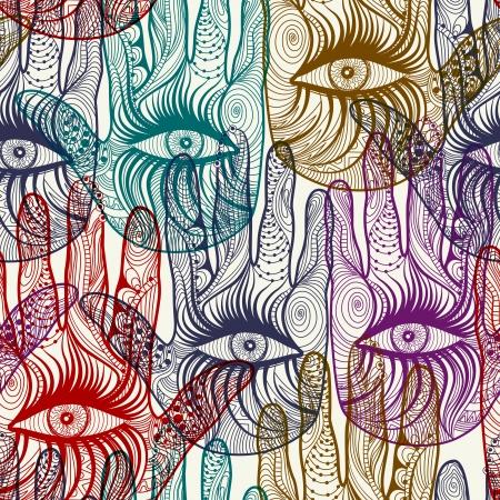 シームレスな手ベクトルの背景パターン。  イラスト・ベクター素材