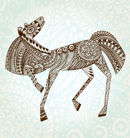 Stylish Abstract Ornaments Horse.  Illustration