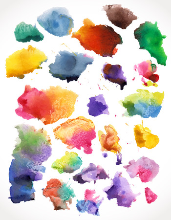 beautiful watercolor splashes, isolated. For your design 版權商用圖片 - 25117811