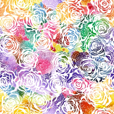 Seamless Elegant Rose watercolor Pattern. Illustration