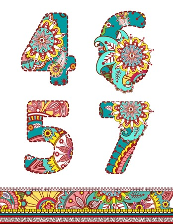 Floral colorful numbers set. Creative Vector illustration.