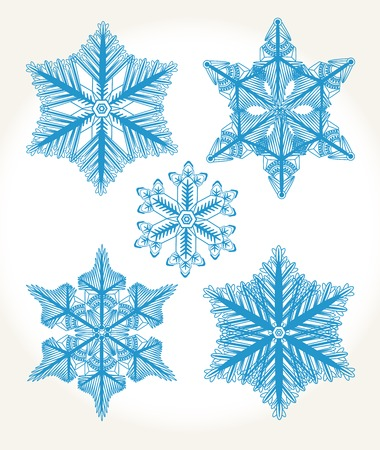 Set of isolated snowflakes. Set for your design.
