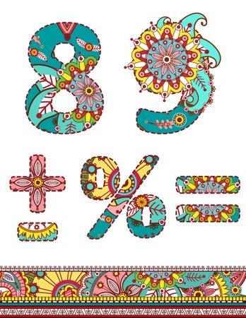 Alphabet numbers retro floral style. Vector illustration.