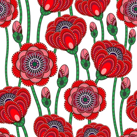 Poppy abstract seamless pattern. Beautiful vector illustration. Vector