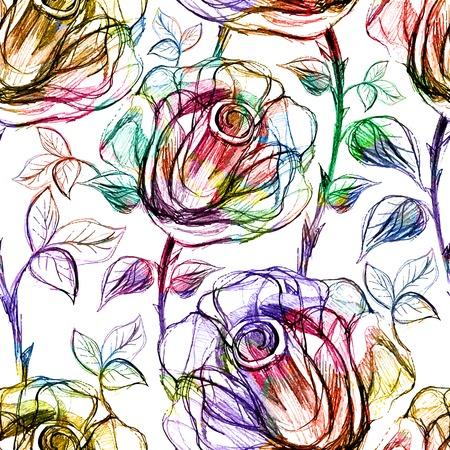 Seamless Roses Pattern. Vector illustration Stock Illustratie