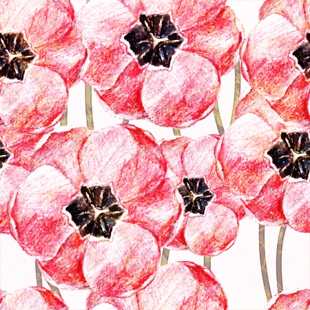 花とのシームレスなパターン。ベクトル イラスト