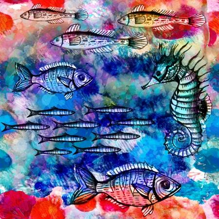 海で泳いでいる魚とのシームレスなパターン。ベクトル