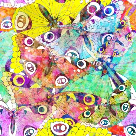 カラフルな蝶とのシームレスなパターン。ベクトル