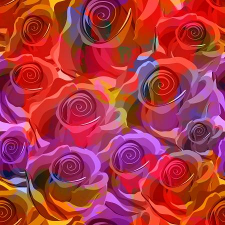 Seamless Roses Pattern. Vector illustration Vettoriali