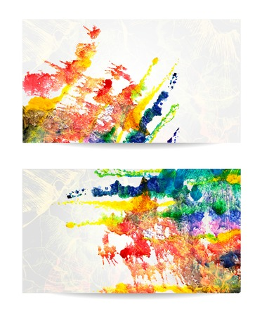 abstract hand drawn set of watercolor backgrounds