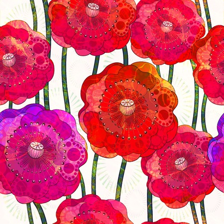 Seamless pattern of poppies Vector