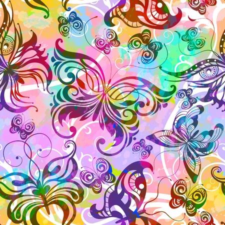 カラフルな蝶イラストのシームレス パターン