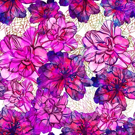 Seamless pattern with abstract bright flowers