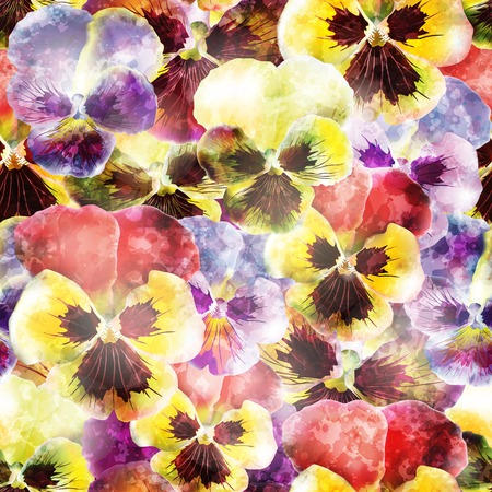 Seamless pattern with pansy flowers.   Illustration