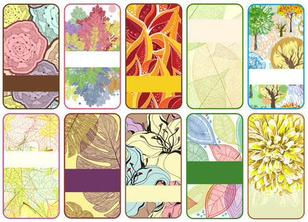 Set of ten colorful autumn cards  Beautiful vector illustration, detailed drawing Vector