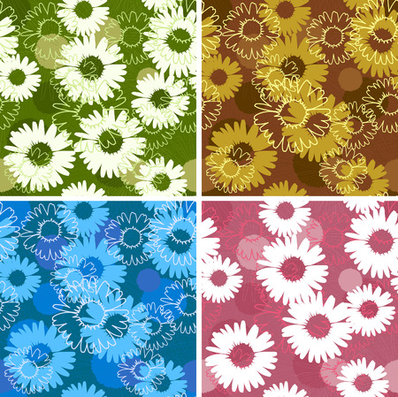 Set of four floral seamless patterns with daisies camomiles Vector