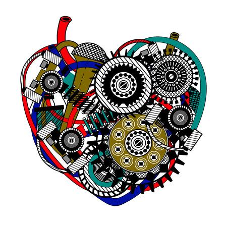 Mechanical heart, abstract form. Vector beautiful art illustration.
