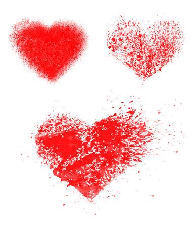 grunge hearts set.  beautiful illustration.