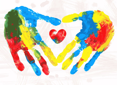 Heart in hands print,  colorful grunge illustration. Vector