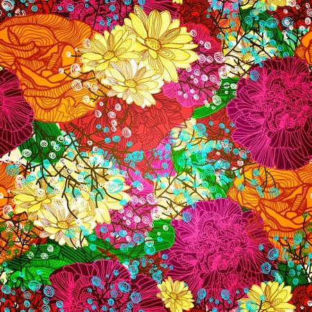 抽象的な明るい花とのシームレスなパターン。