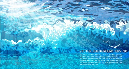 abyss: VECTOR WAVE BACKGROUND. Vector beautiful illustration.