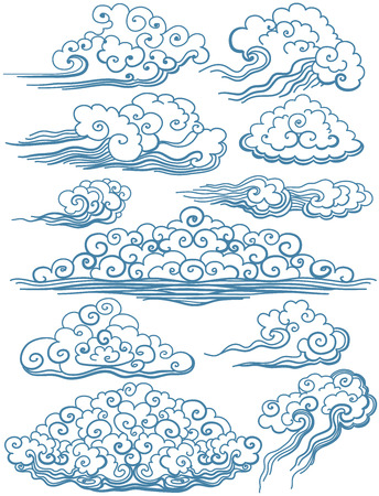 sky line: Vector Set of isolated Clouds. Vector beautiful illustration.