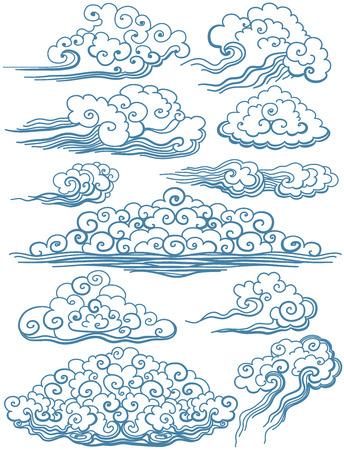 Vektor-Set isoliert Wolken. Vector schöne Illustration.