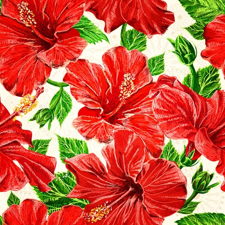 Seamless fhibiscus flowers pattern, hand-drawing.  Vector